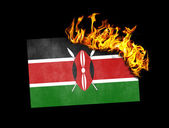 Flag burning - Kenya — Stock Photo