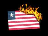 Flag burning - Liberia — Stock Photo