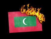 Flag burning - Maldives — Stock Photo
