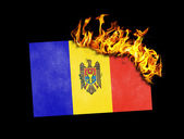 Flag burning - Moldova — 图库照片