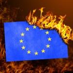 Flag burning - European Union — Stock Photo #66254401