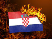 Flag burning - Croatia — Foto Stock