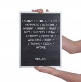 Health concept in plastic letters on very old menu board — Stock Photo
