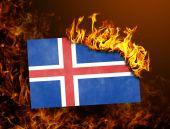 Flag burning - Iceland — Stock Photo