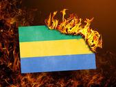Flag burning - Gabon — Stock Photo