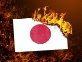 Drapeau de combustion - Japon — Photo