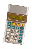 Old calculator - deficit — Stock Photo