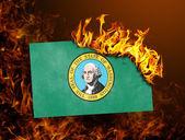 горение флага - вашингтон — Стоковое фото