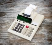 Old calculator - pension — Zdjęcie stockowe