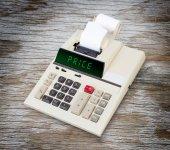 Old calculator - price — Zdjęcie stockowe