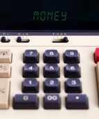 Old calculator - money — Foto Stock