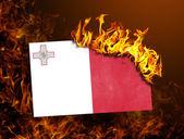 Flag burning - Malta — Stock Photo