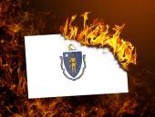Flag burning - Massachusetts — Stock Photo