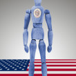 Wood figure mannequin with US state flag bodypaint - Minnesota — Stock Photo #73300143