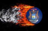 Markeren met een spoor van vuur en rook - Michigan — Stockfoto