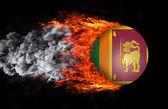 Флаг с след огня и дыма - Шри-Ланка — Стоковое фото
