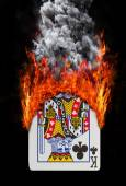 Playing card with fire and smoke — Stock Photo