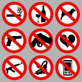 Set prohibitive signs — Stock Vector