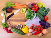Vegetables on cutting board — Stock Photo