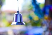 Closeup of silver bell — Stok fotoğraf