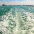 The wake of a boat as seen from the stern of a ship — Stock Photo #62579927