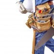Постер, плакат: Building contractor carpenter man walking with tools