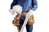 Tischler Reparatur Mann mit Arbeit Werkzeug Gürtel isoliert auf weiss — Stockfoto
