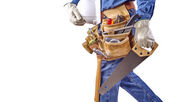 Building contractor carpenter man walking with tools — Stock Photo