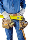 Contractor carpenter repair man and tool belt isolated white — Stockfoto