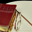 King James Bible with personal diary journal business pen and reading glasses — Stock Photo #71210691