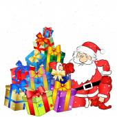 Santa with gifts vector — Stock Vector