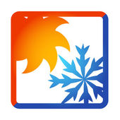 Sun and snowflake for air conditioner — Stock Vector