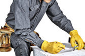 Carpenter wearing Tool Belt — Stock Photo