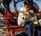 Homeless Man with Dog on Bench — Stock Photo