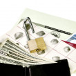 Identity Documents, Wallet with Currency and Unlocked Padlock — Stock Photo #75302483
