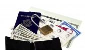 Travel Documents with Unlocked Padlock — Stock Photo