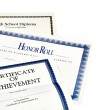 School Achievement documents including High School Diploma — Stock Photo #82038778