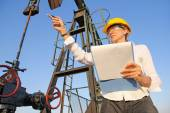 Female engineer in oil field — Stock Photo