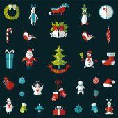Uppsättning av jul platta grafiska element — Stockvektor