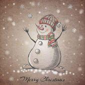 Esboço estilo mão desenhado boneco de neve — Vetor de Stock
