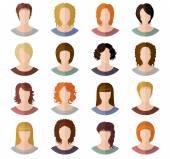 Avatars of girls in modern flat design — Vector de stock