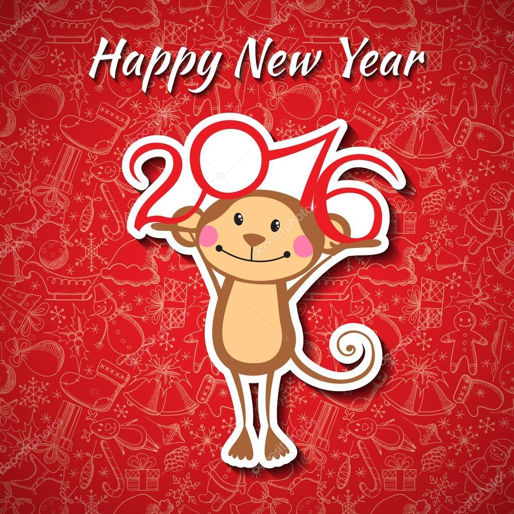 Новый год 2016: открытки с Обезьянками - t 16