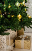 Fragment of a Christmas tree - holiday background — Stock Photo