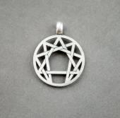 Silver symbol of enneagramma — Stock Photo