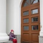 Child near historical building — Stock Photo #64763059