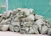 View of sacks with debris — Stock Photo