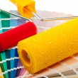 Paint rollers and color samples — Stock Photo #79216758