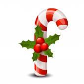 Cana-de-Natal com bagas vermelhas, isolado no branco. — Vetor de Stock