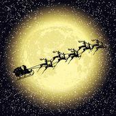 Santa claus rides on deer at night — 图库矢量图片