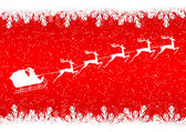 Santa Claus rides in a sleigh reindeer on red background — Stock Vector